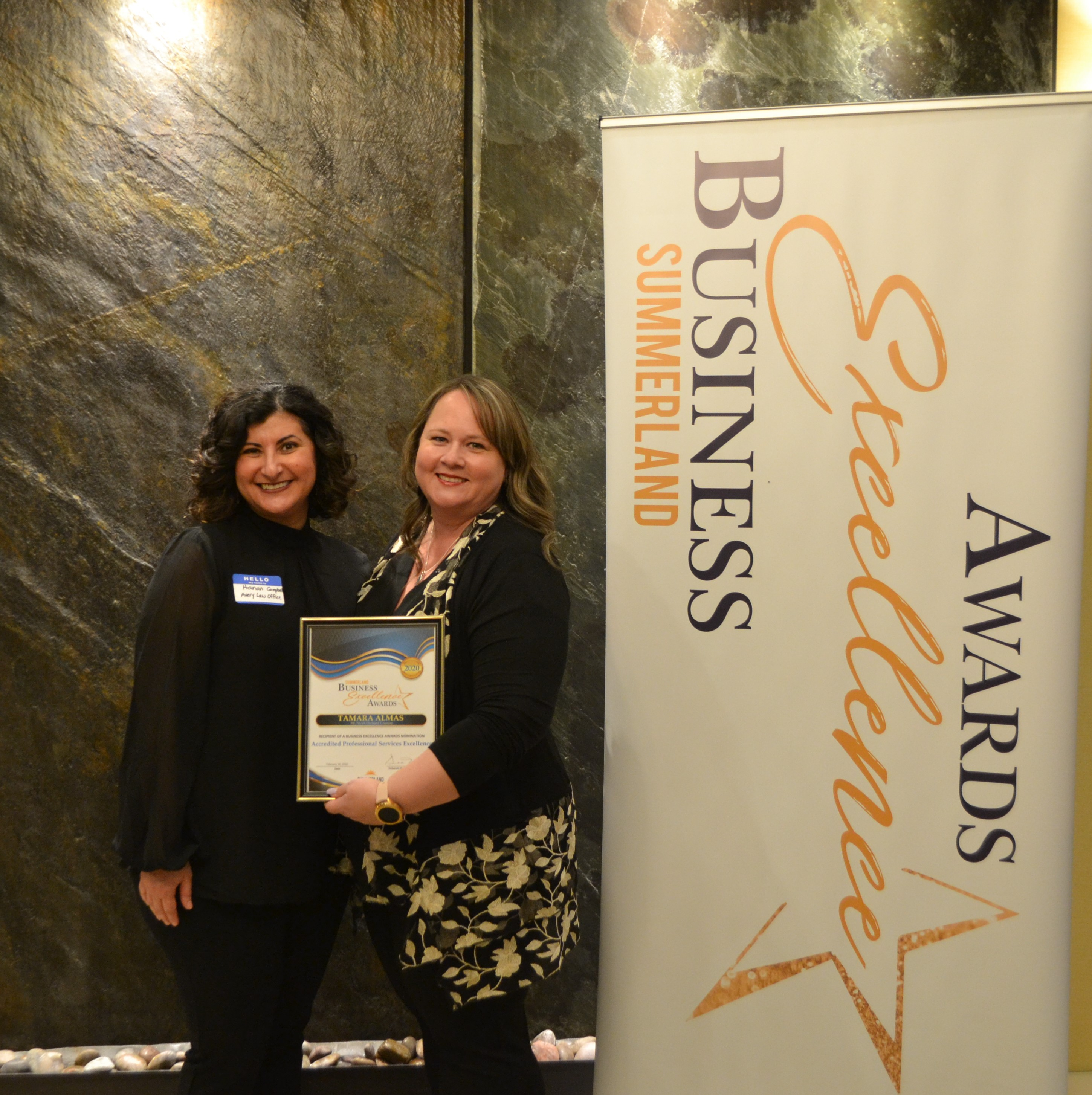 Nominated for Accredited Professional, Service Excellence, Summerland Chamber of Commerce, 2020.  image