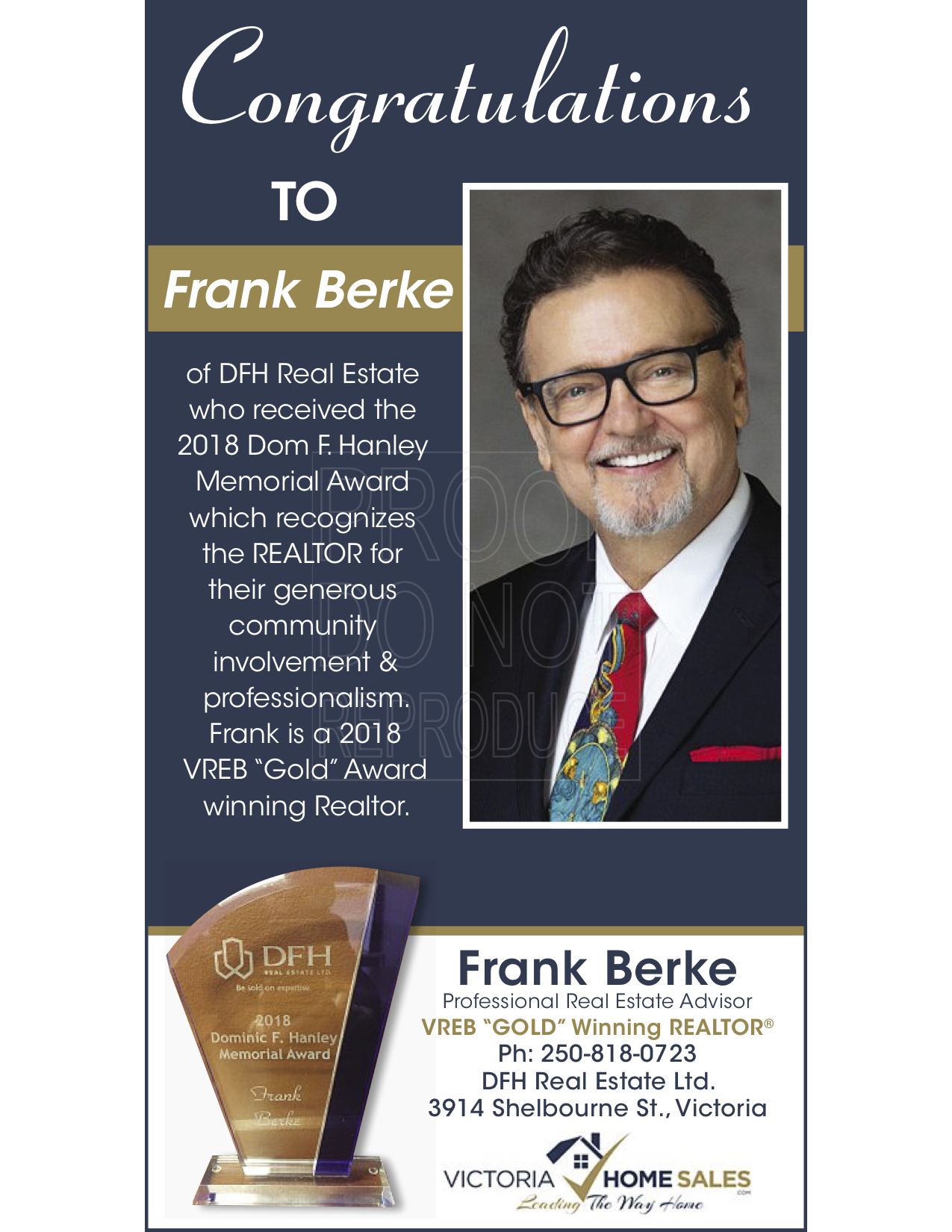 Frank Berke awarded the DFH - Dominic F.Hanley Award for his extensive work raising money for Charities in the Victoria region. image