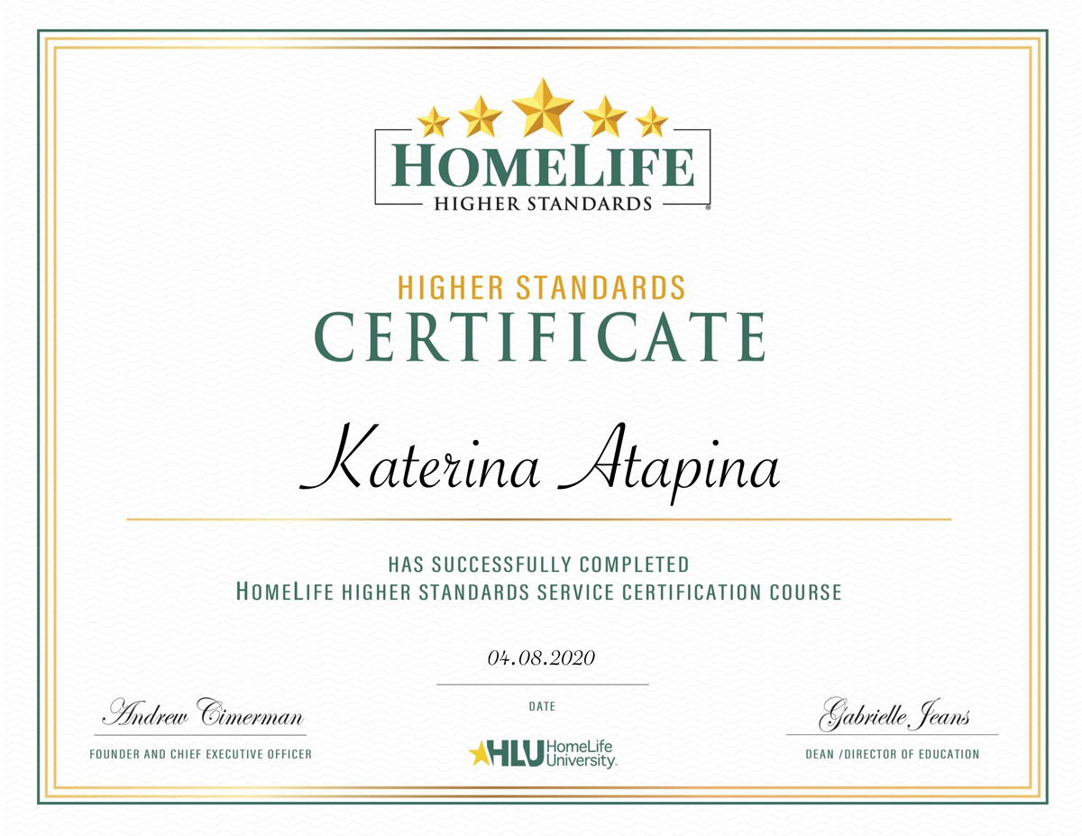 What about this reward is? Homelife University Higher standard certificate